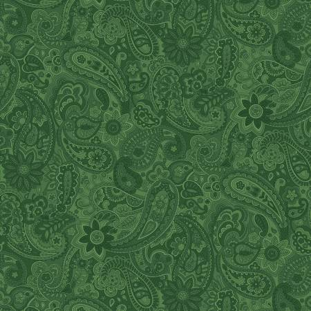 "108"" Wide Backing Paisley - Green"