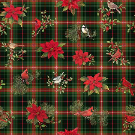 Christmas Bird Song Large Plaid & Poinsettia - Multi
