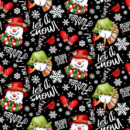 Flannel Snow Bird Words & Snowman Tossed - Black