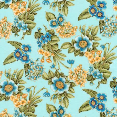 Avery Hill Floral Allover - Sky w/Metallic