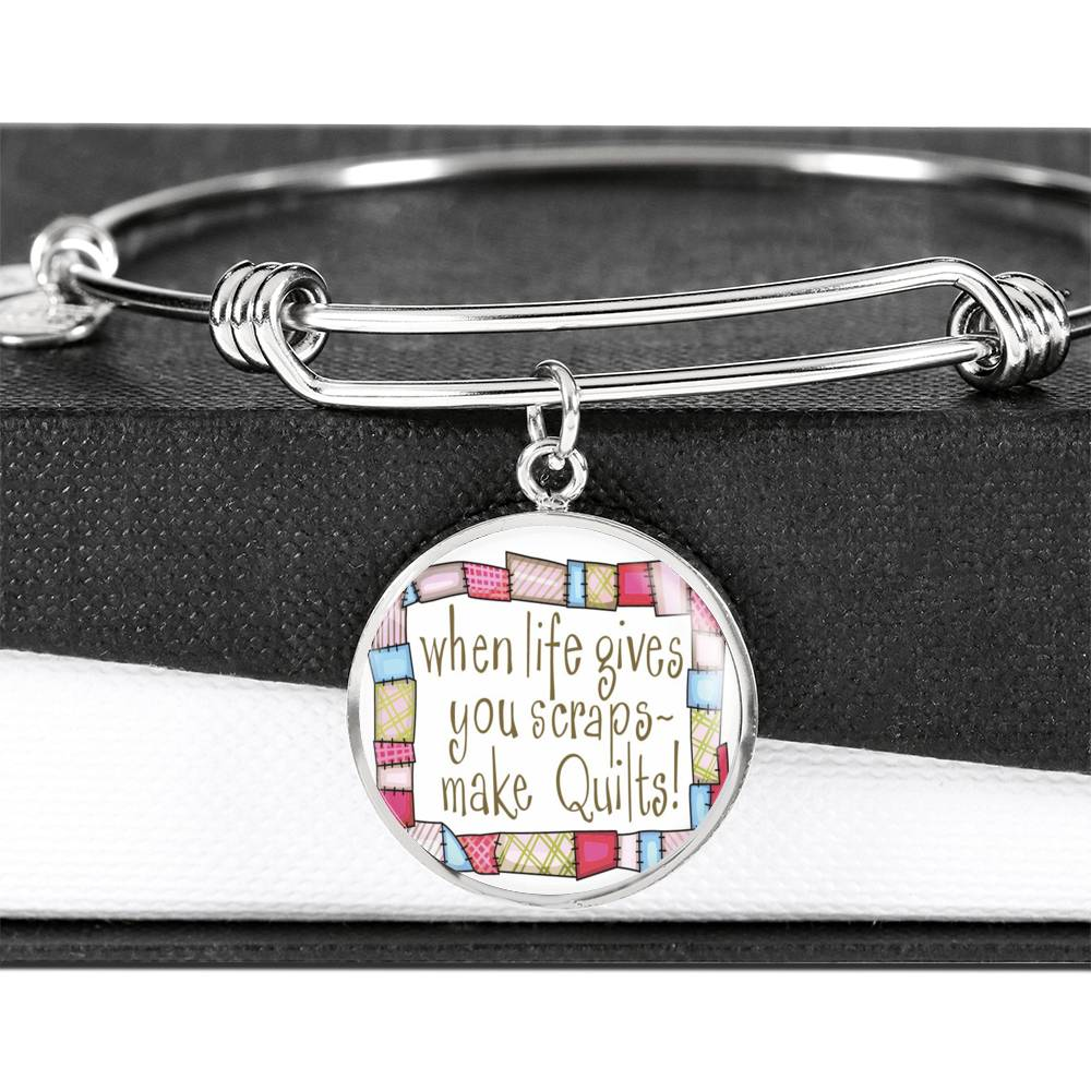 "MDG Jewelry - ""When Life Gives You Scraps ~ Make Quilts"" Luxury Bangle"