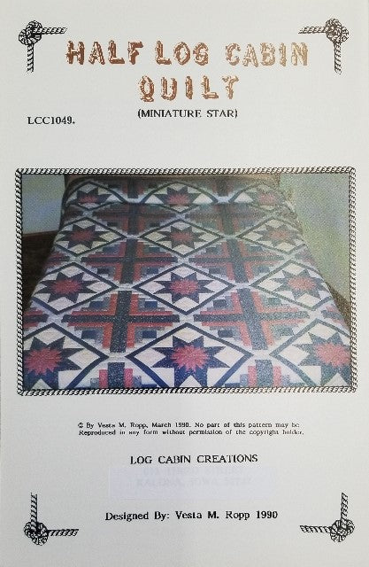 Half Log Cabin Miniature Star Quilt Pattern