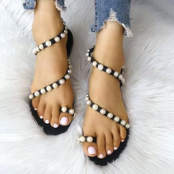 Flat With Toe Ring Slip-On Low-Cut Upper Casual Sandals