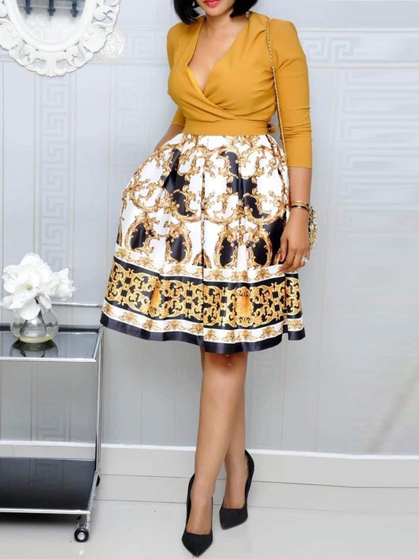 Knee-Length Print Three-Quarter Sleeve Western Expansion Dress