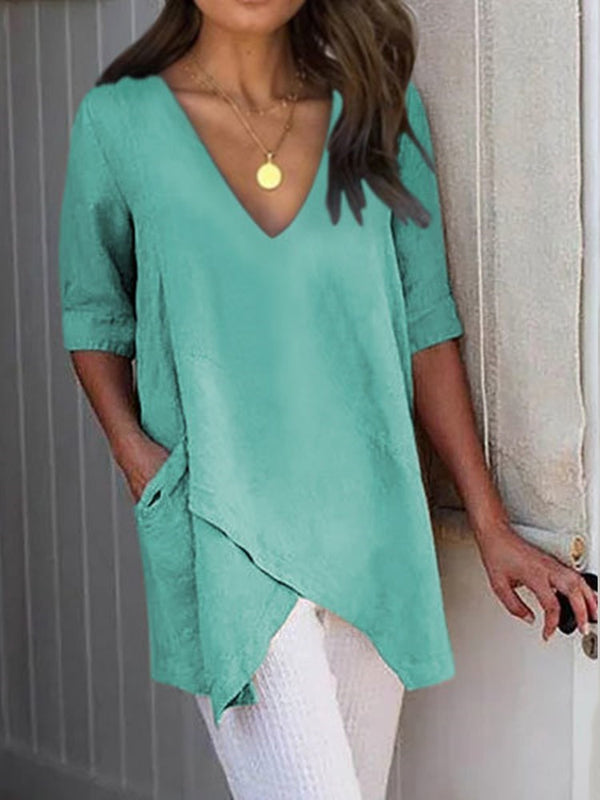 V-Neck Half Sleeve Mid-Length Casual Straight T-Shirt