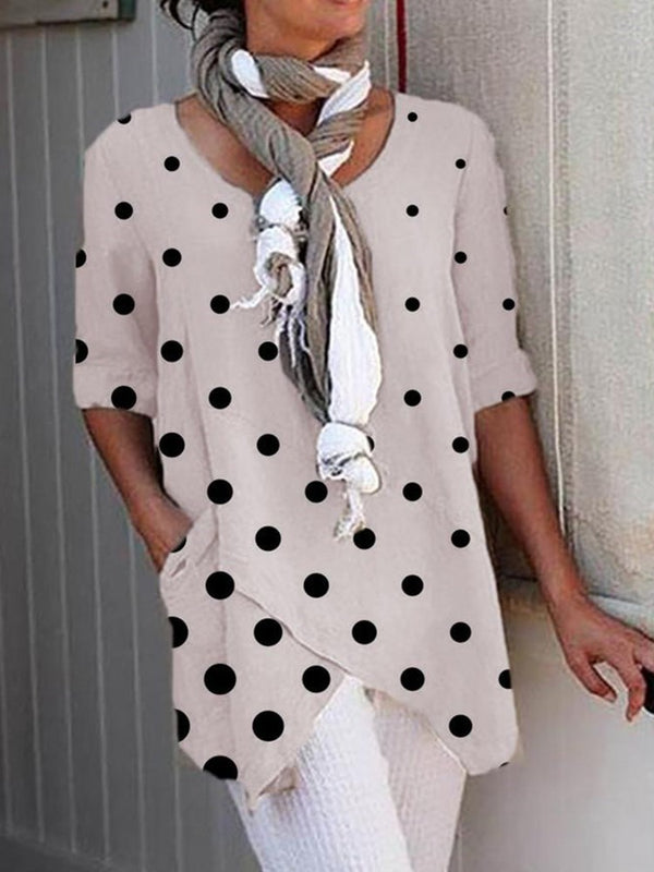 Mid-Length Round Neck Polka Dots Slim Casual T-Shirt