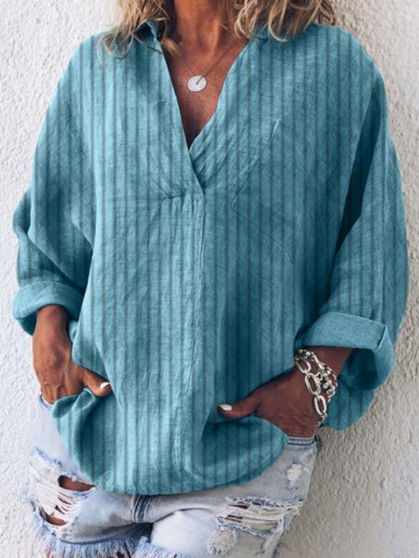 Stripe V-Neck Three-Quarter Sleeve Mid-Length Blouse