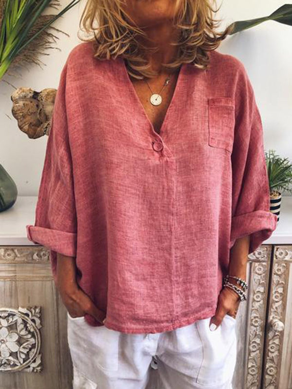 Plain Button V-Neck Mid-Length Long Sleeve Blouse
