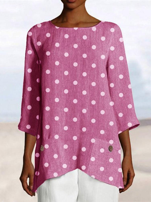 Polka Dots Three-Quarter Sleeve Mid-Length Loose T-Shirt