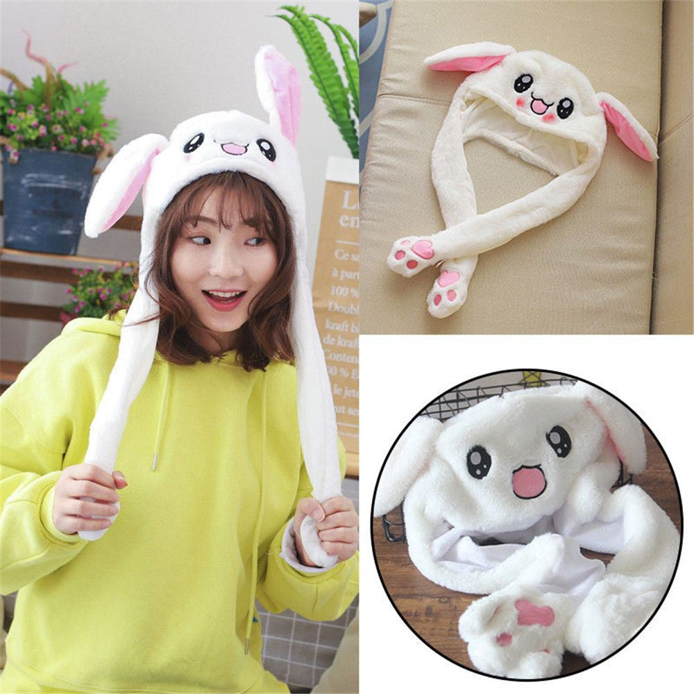 Cute Funny Rabbit Hat Moving Bunny Ears Soft Plush Cap Toys Gifts