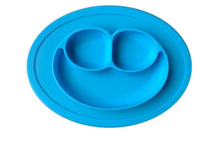 Silicone Baby Placemat Smiley Face Round Non Slip With Built in Plate Bowl Tray Best for Children Kids Toddlers