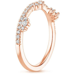 0.60 CT Cosette Diamond Ring Half Eternity Women Band in Solid 14 k Rose Gold Women Band HK Jewellers