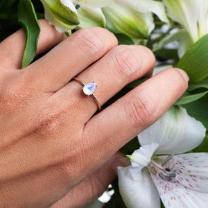1.15 Ct Natural Moonstone Wedding Engagement Ring 14 k Solid Gold June Birthstone Gemstone Ring HK Jewellers