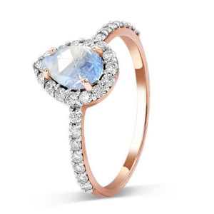 1.30 Ct Moonstone Natural Diamond Wedding Engagement Ring 14 k Solid Gold June Birthstone Gemstone Ring HK Jewellers