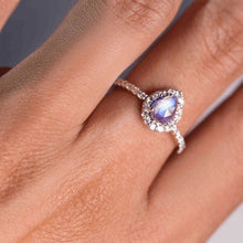 Load image into Gallery viewer, 1.30 Ct Moonstone Natural Diamond Wedding Engagement Ring 14 k Solid Gold June Birthstone Gemstone Ring HK Jewellers