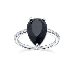 1.4 CT Black White Diamond Wedding Engagement Ring 14 k Solid Gold Gemstone Ring HK Jewellers