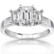 Load image into Gallery viewer, HKJ-HKJeweler-Gold-Jewelry-HKJWeddingRing-Wedding-Engagement-Ring-Band-14-Kt-White-Gold-Emerald-cut-Moissanite-Diamond-Ring-Wedding-Ring-HK-Jewellers-