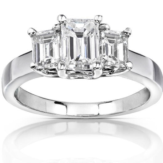 HKJ-HKJeweler-Gold-Jewelry-HKJWeddingRing-Wedding-Engagement-Ring-Band-14-Kt-White-Gold-Emerald-cut-Moissanite-Diamond-Ring-Wedding-Ring-HK-Jewellers-