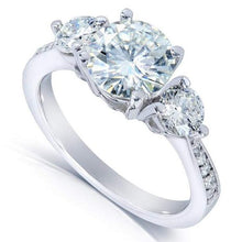 Load image into Gallery viewer, HKJ-HKJeweler-Gold-Jewelry-HKJWeddingRing-Wedding-Engagement-Ring-Band-14-kt-white-gold-triple-solitaire-moissanite-diamond-wedding-ring-wedding-ring-hk-jewellers-