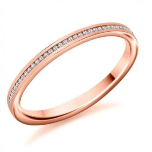 2 mm Diamond Half Eternity Wedding Engagement Band 14 k Solid Rose Gold Wedding Gift Half Eternity Band HK Jewellers