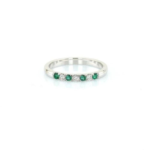 2 mm Natural Emerald Diamond Half Eternity Band 14 k Solid Gold May Birthstone Gemstone Ring HK Jewellers