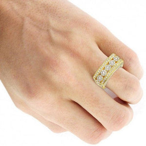 2.1 Ct Diamond Wedding Men Ring 14 k Solid Gold Natural Diamonds Wedding Ring HK Jewellers