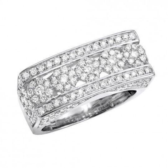 2.1 Ct Diamond Wedding Men Ring 14 k Solid Gold Natural Diamonds Wedding Ring HK Jewellers US 0 White Gold