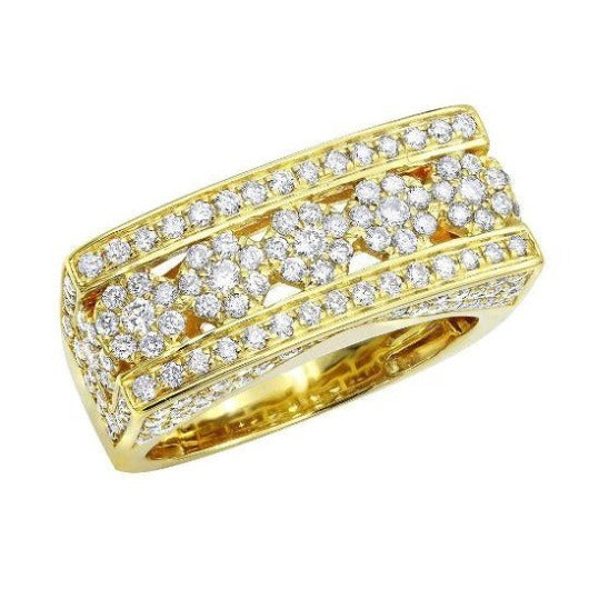 2.1 Ct Diamond Wedding Men Ring 14 k Solid Gold Natural Diamonds Wedding Ring HK Jewellers US 0 Yellow Gold