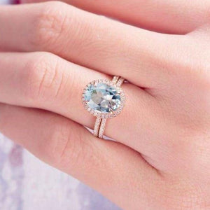 2.6 Ct. Aquamarine Engagement Ring Set Garnet Engagement Ring HK Jewellers