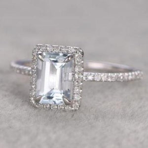 3 Ct. Aquamarine Engagement Ring Garnet Engagement Ring HK Jewellers