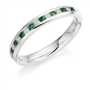 3 mm Emerald Diamond Half Eternity Band 14 k Solid Gold May Birthstone Gemstone Ring HK Jewellers US 0 White Gold