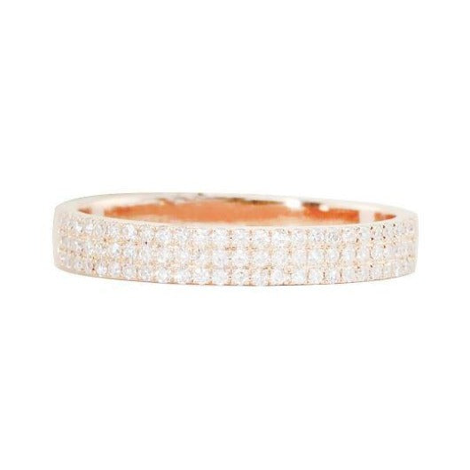 3 mm Natural Diamond Half Eternity Wedding Engagement Band Women Ring in 14 k Solid Gold Half Eternity Band HK Jewellers