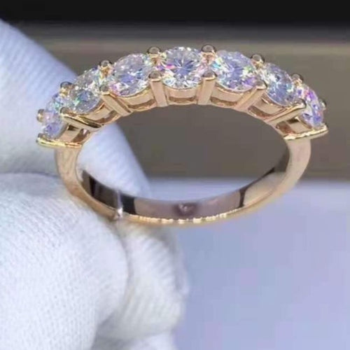 4mm Moissanite Half Eternity Band Wedding Band HK Jewellers