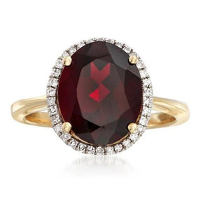 5 Ct. Oval Cut Garnet Engagement Ring Garnet Engagement Ring HK Jewellers