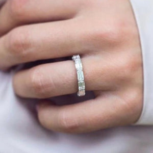 5X3mm Emerald Cut Moissanite Band Engagement Ring HK Jewellers