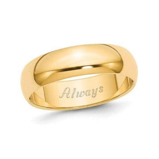 6 mm Engraved Men Wedding Anniversary Engagement Band 14K Solid Yellow White Rose Gold Ring Wedding Band HK Jewellers