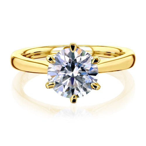 6 Prong Solitaire Moissanite Ring Moissanite Engagement Ring HK Jewellers 925 Silver Yellow Gold US 3