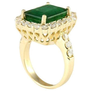 6.3 Ct. Natural Emerald Diamond Engagement Ring Gemstone Ring HK Jewellers