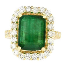 Load image into Gallery viewer, 6.3 Ct. Natural Emerald Diamond Engagement Ring Gemstone Ring HK Jewellers