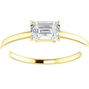 6X4mm Emerald Cut Moissianite Band Wedding Ring HK Jewellers