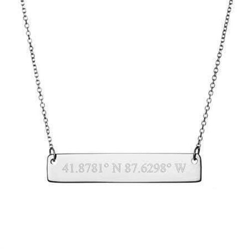 925 Solid Silver Personalised Custom Coordinate Bar Necklace Gift For Him Her Personalised Necklace HK Jewellers