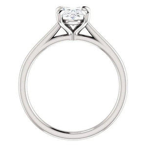 Four Claw Oval Moissanite Engagement Ring
