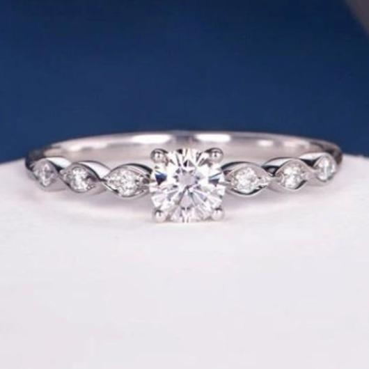 Art Deco Diamond Moissanite Engagement Ring Wedding Ring HK Jewellers