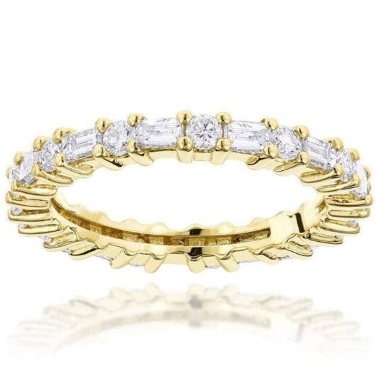 Baguette and Round Diamond Eternity Band Women Band HK Jewellers