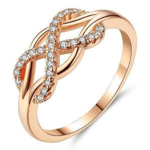 Beiver New Cubic Zirconia Crystal Infinite Rings For Women Fashion Design Statement Rose Gold Color Ring Wedding Jewelry HK Jewellers 6 As Picture