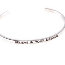 Load image into Gallery viewer, Believe In Your Dreams Inspiration Motivation Cuff Bracelet Solid Silver Gold Filled Jewelry Personalised Bracelet HK Jewellers