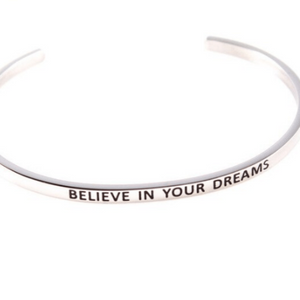 Believe In Your Dreams Inspiration Motivation Cuff Bracelet Solid Silver Gold Filled Jewelry Personalised Bracelet HK Jewellers