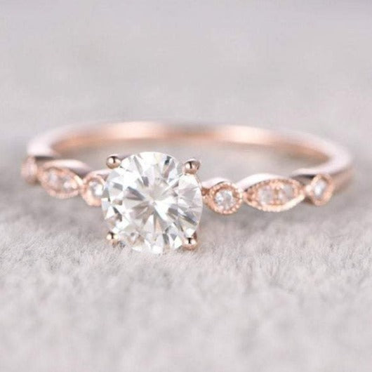 Brilliant Moissanite Engagement ring Vintage Ring HK Jewellers