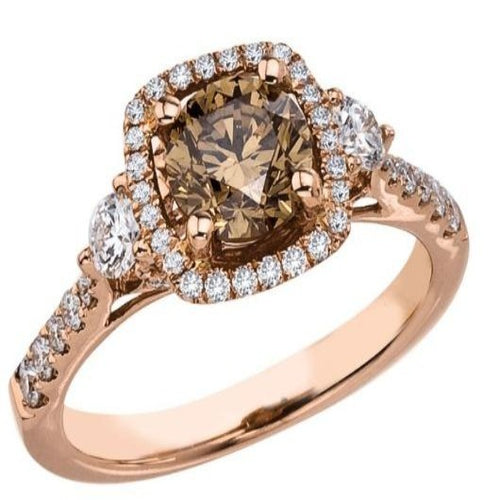Brown Diamond 14 k Gold Engagement Ring Gemstone Ring HK Jewellers