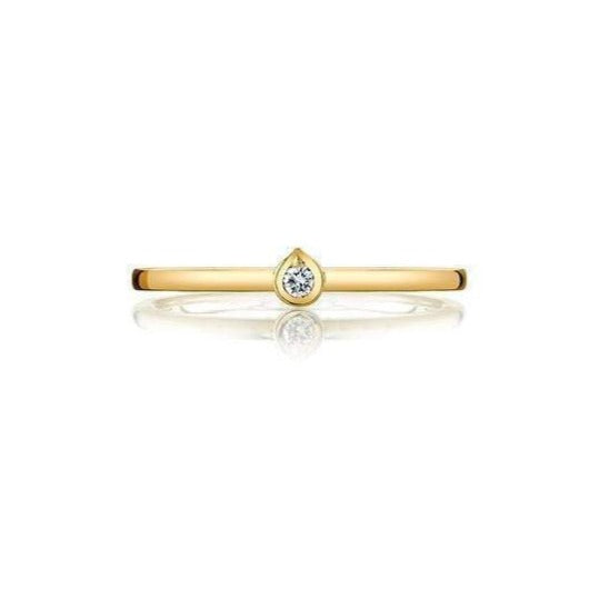 Dainty Pear Moissanite Gold Band Diamond Ring HK Jewellers